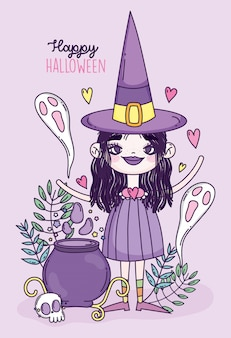 Ragazza strega dolcetto o scherzetto felice halloween