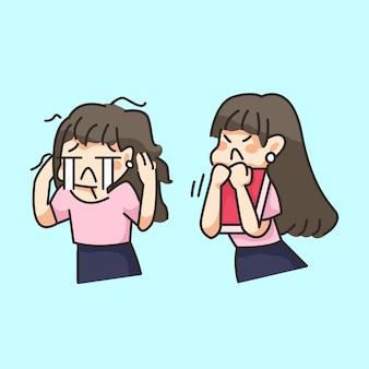 Ragazza stressata piangendo lavorando carino fumetto illustrazione