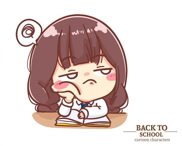 Ragazza studentessa uniforme stanco di leggere il libro. cartoon illustrazione logo. vettore premium
