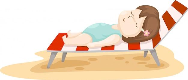 Ragazza sul vettore del letto della spiaggia