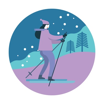 Ragazza sullo sci