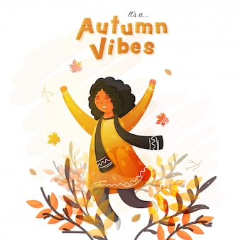 Ragazza sveglia allegra nella posa di salto e foglie astratte su fondo bianco per le vibrazioni di un autunno.