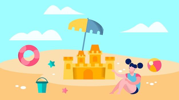 Ragazza sveglia che gioca sull'illustrazione di vettore della spiaggia