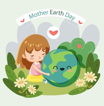Ragazza sveglia che protegge globale per il manifesto di giornata per la madre terra