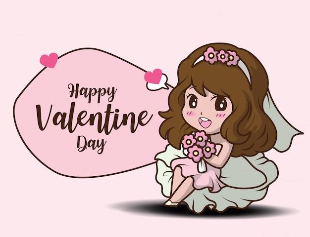 Ragazza sveglia che tiene rosa e messaggio felice giorno di san valentino
