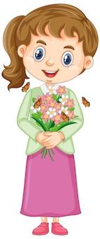 Ragazza sveglia con i fiori su bianco