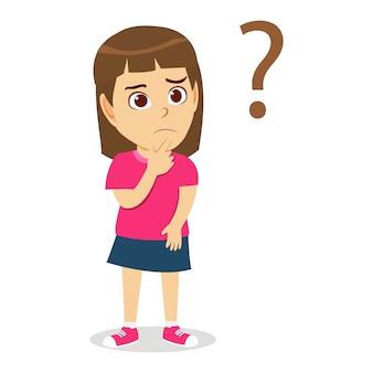 Ragazza sveglia del bambino che pensa con il punto interrogativo