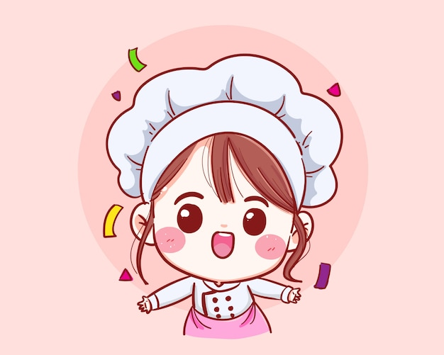 Ragazza sveglia del cuoco unico che sorride nel vettore benvenuto uniforme.