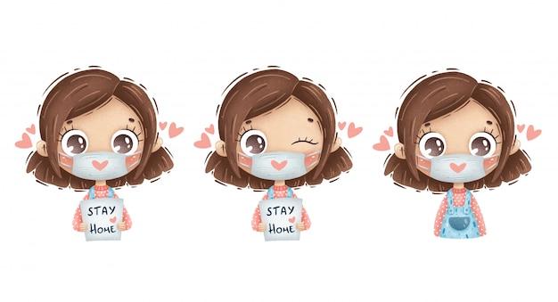 Ragazza sveglia del fumetto con capelli castani in una mascherina medica con un cuore e le parole rimanere a casa su uno sfondo bianco