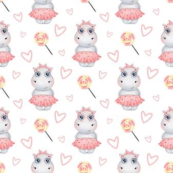 Ragazza sveglia dell'ippopotamo del fumetto in una gonna rosa con il modello senza cuciture delle caramelle e dei cuori