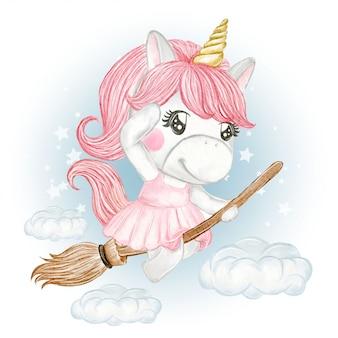 Ragazza sveglia dell'unicorno che guida una scopa volante