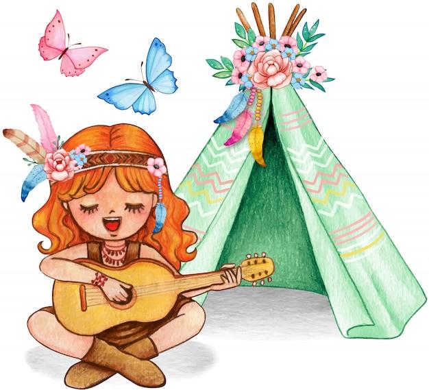 Ragazza sveglia dello zenzero dell'acquerello che gioca chitarra e che canta