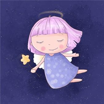 Ragazza sveglia di angelo del fumetto con una bacchetta magica sul cielo stellato