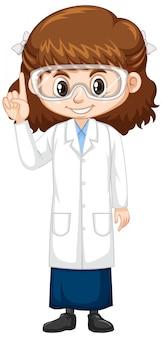Ragazza sveglia in abito di scienza su bianco