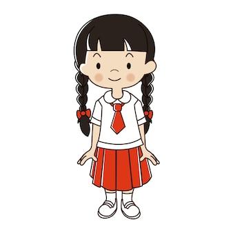 Ragazza tailandese nell'illustrazione dell'uniforme dello studente.