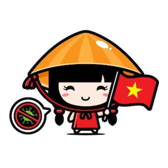 Ragazza vieatnamese con bandiera contro il virus