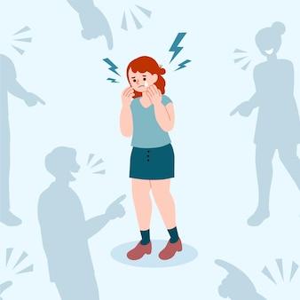 Ragazza vittima di bullismo illustrata