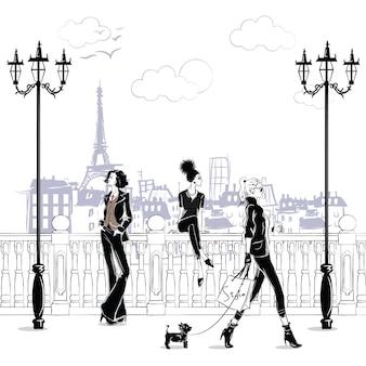 Ragazze alla moda in stile schizzo a parigi. ritratto di donna di moda.