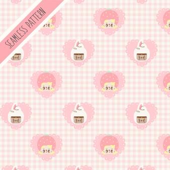 Ragazze carine e reticolo senza giunte del cuore rosa. coniglietto disegnato a mano