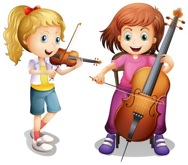 Ragazze che suonano violino e violoncello