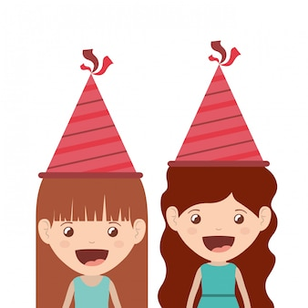 Ragazze con cappello da festa in festa di compleanno