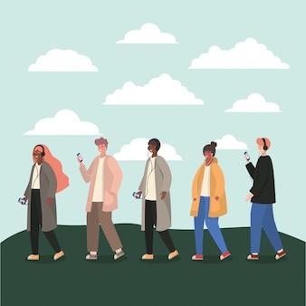 Ragazze e ragazzi con smartphone e nuvole
