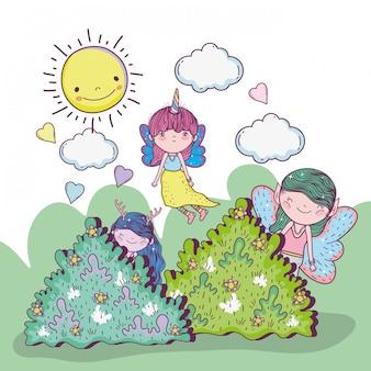 Ragazze fantastiche creature tra i cespugli con nuvole e sole