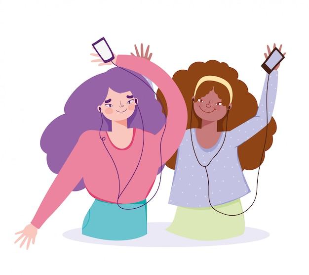 Ragazze felici che ascoltano la musica con l'illustrazione delle cuffie e dello smartphone