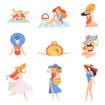 Ragazze in costume da bagno e cappelli, prendere il sole sulla spiaggia, vista posteriore, bella giovane donna godendo le vacanze estive in riva al mare illustrazione