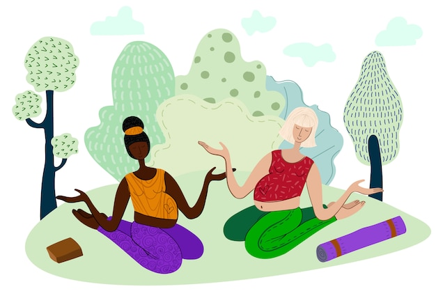 Ragazze incinte che fanno yoga nel parco