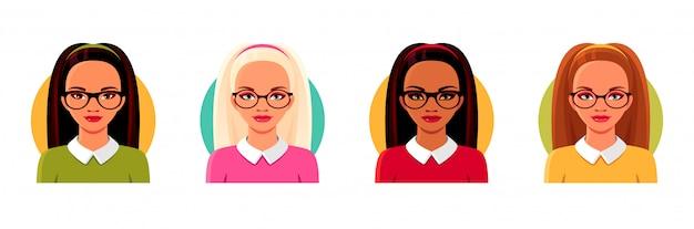 Ragazze indiane, asiatiche, europee con gli occhiali. volti di avatar di studentessa, insegnante, imprenditrice. illustrazioni isolate del fumetto