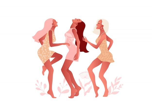 Ragazze o amici felici che ballano e ridono