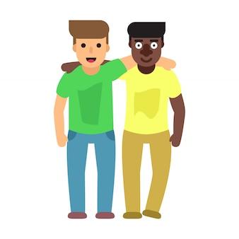 Ragazzi adulti, due migliori amici. illustrazione piatta amicizia
