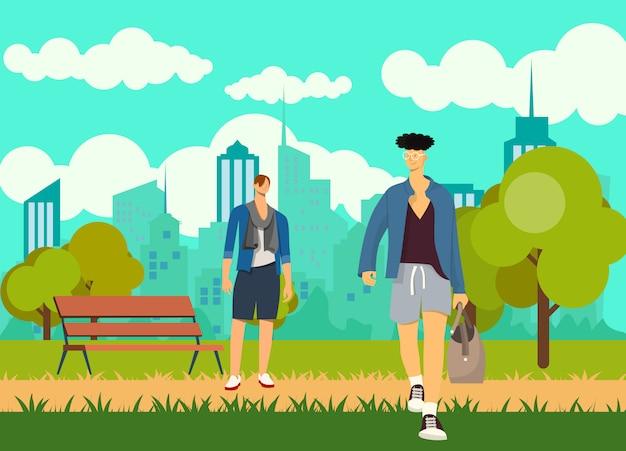 Ragazzi adulti, uomini, due migliori amici nel parco, amicizia