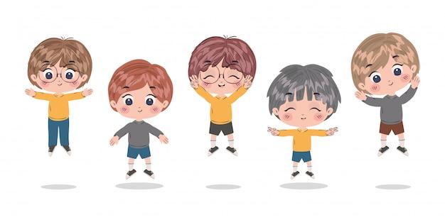 Ragazzi cartoni animati design, bambini amicizia infanzia piccole persone