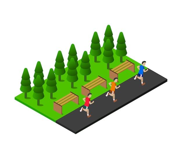 Ragazzi che corrono nel parco isometrico