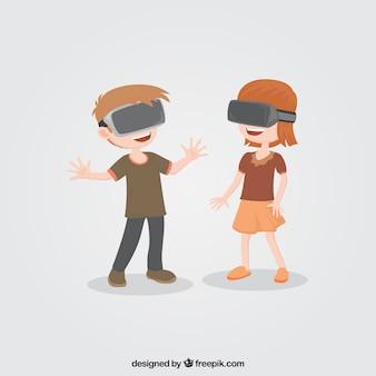 Ragazzi che giocano con gli occhiali di realtà virtuale