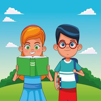 Ragazzi con fumetti di libri