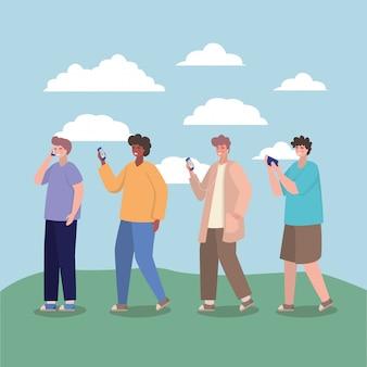 Ragazzi con smartphone e nuvole