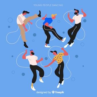 Ragazzi disegnati a mano che ballano insieme