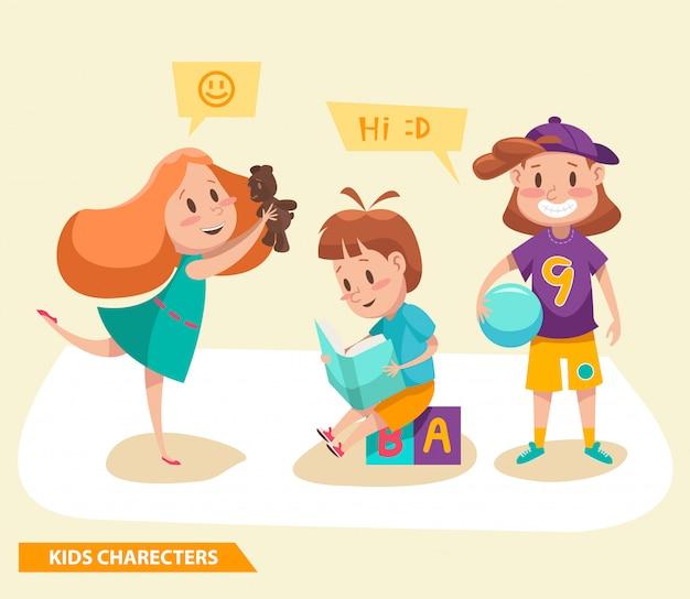 Ragazzi e ragazze che giocano a disegnare personaggi
