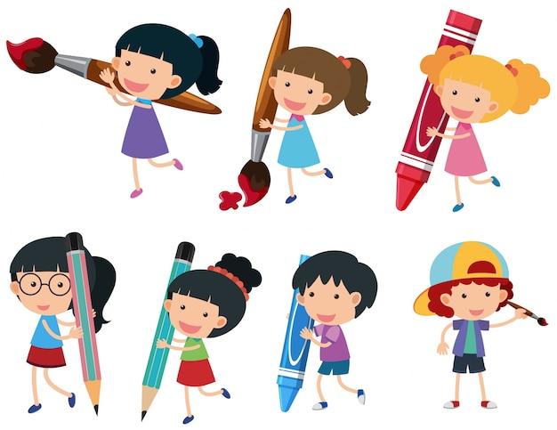 Ragazzi e ragazze con pastello e pennello