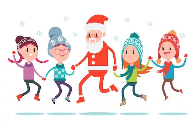 Ragazzi e ragazze felici che saltano con l'illustrazione del fumetto di santa claus isolata su bianco.