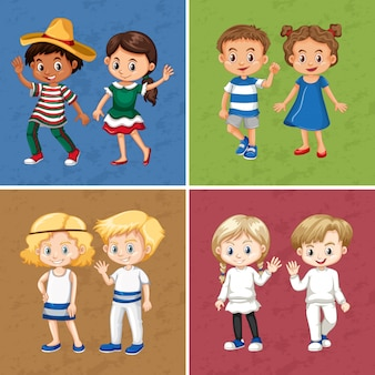 Ragazzi e ragazze in quattro colori diversi