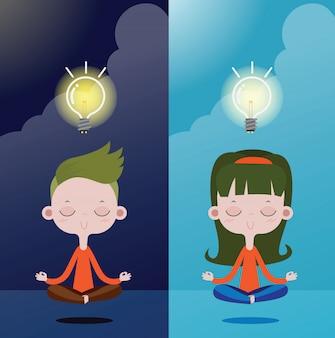 Ragazzi e ragazze meditazione per creatività e idee, lampadina