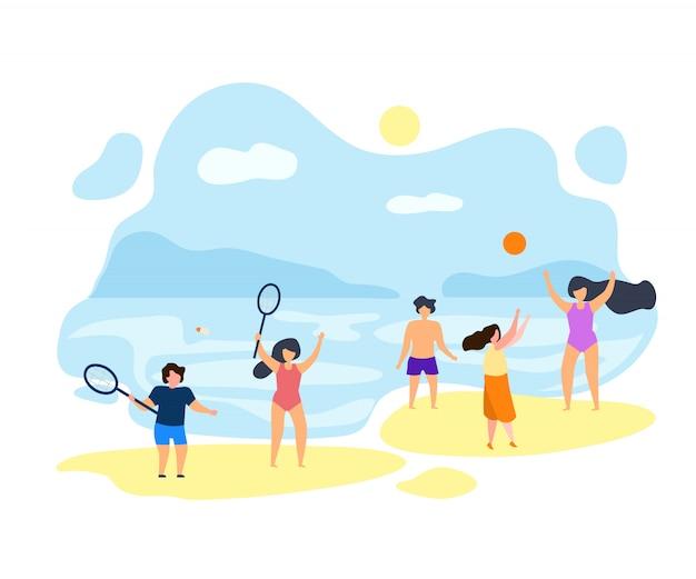 Ragazzi giocare a badminton in estate su beach vector piatto