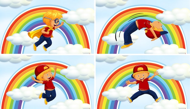 Ragazzi in diversi acions su sfondo arcobaleno