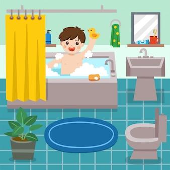 Ragazzino adorabile che fa un bagno in vasca con molta schiuma del sapone e anatra di gomma. il ragazzo felice si siede in vasca con le bolle di sapone. illustrazione.