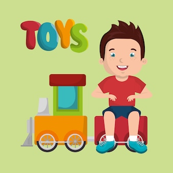 Ragazzino che gioca con il personaggio dei giocattoli