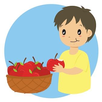 Ragazzino che mangia un vettore di mela